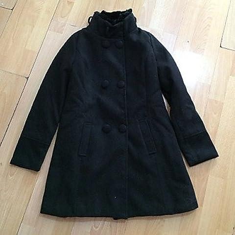PU&PU Mic Input elegante dei capelli del coniglio del collare cappotto di tweed con cintura (nera) , black , l