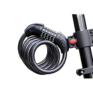 Foneso Bike Lock, Security Cable Lock 5-Digit Self Coiling Resettable Combination Code-Best for Road Bike Mountain Bikes Cycling Accessories, Black (4 Feet / 1.2 Meters)