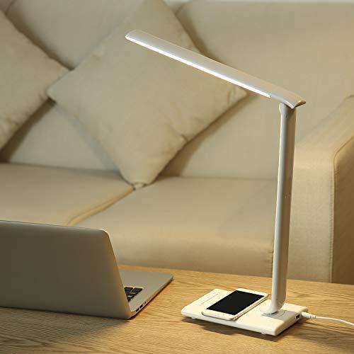 PAVLIT LED Schreibtischlampe mit kabelloser Ladestation dimmbare tischlampe Arbeitslampe mit 7 Helligkeitsstufen 5 Farbtemperaturen Tischlampe USB Ladeanschluss Leselampe Arbeitsplatzleuchte