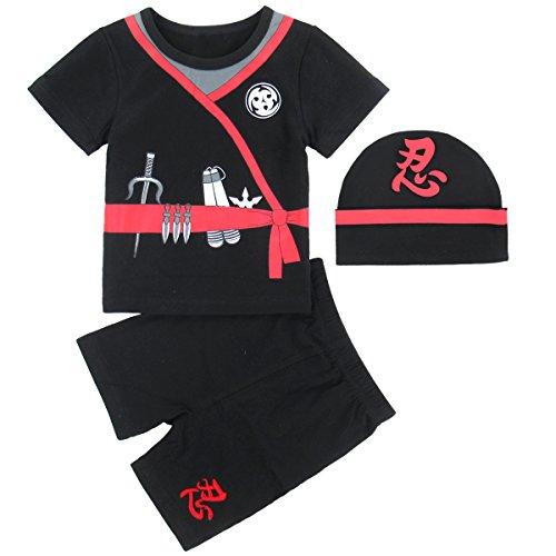 Mombebe Baby Jungen Ninja Kostüm Bekleidung Sets mit Hüte (0-6 Monate, Ninja)