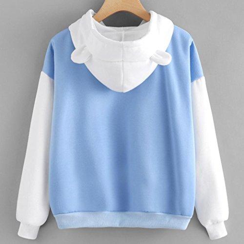 Morwind Sweat à Capuche Femme, oreilles de chat hoodies femme sweatshirt mignon pullover femme Bleu