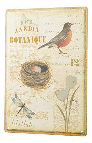 Garden Wall Plate (St574ony Metal Sign 12x16 Inches Poster Plaque Tin Plate Vintage Plaque Nostalgic Botanical Garden Bird Bird Nest Dragonfly Tulips)