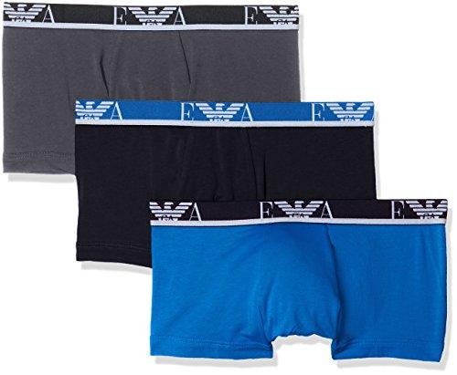 Emporio Armani Underwear Herren Hipster 1113578P715, 3er Pack, Mehrfarbig (Antrac/Cielo/Nero 19944), Small - Emporio Armani Baumwolle Unterwäsche
