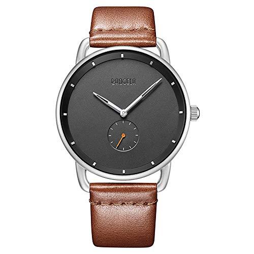 BAOGELA Armbanduhr Damen Herren Uhren Braun Leder-Armband Wasserdicht Analog Quarz Damenuhr Herrenuhr Ultra-flach