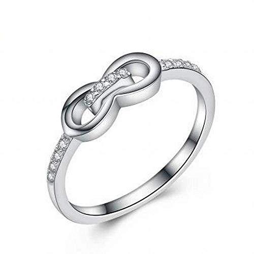 YTTY S925 Sterling Silver Girls Square Black Diamond Inlay Roségold Eröffnung Code Ring, Silber, 6, Silber, 6