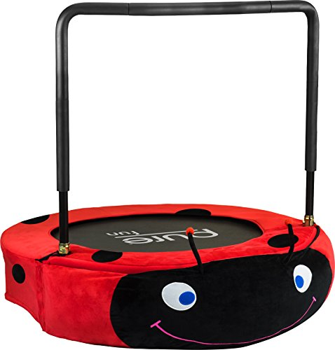 Pure Fun Kids Jumper: 96,5cm Mini Trampolin mit Handlauf, Jugend Alter 4bis 10, Unisex, rot/schwarz