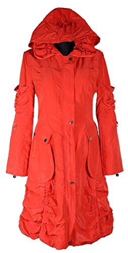 Grisodonna.Style Damen Lagenlook Kapuze Übergangsmantel Mantel warm gefüttert Trench Coat 40 42 44 46 48 50 M L XL XXL 2XL Rot Jacke Winter (40)