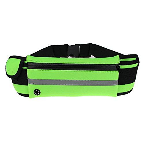 KANG@ Sport Taille Pack Multifunktions Running Männer und Frauen Outdoor Handy Tasche Anti-Diebstahl intime Stealth wasserdicht Beutel Grün, drei Taschen
