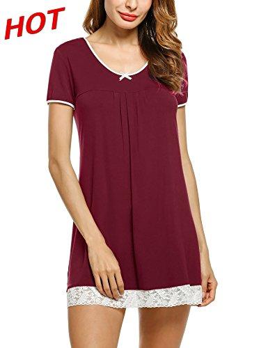 Unibelle Damen Nachthemd Kleid Nachtwäsche Negligees Kurzarm mit Spitzenbesatz