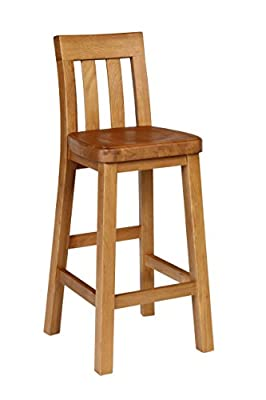 Tall Solid Oak Kitchen Bar Stool - Oak Bar Stool. Oak Breakfast Bar Stool. Solid Oak Stool. Chunky oak fully assembled with slatted back and foot rest. Ideal for domestic home use as well as in pubs, bars, cafes and restaurants. Made from sustainable Amer