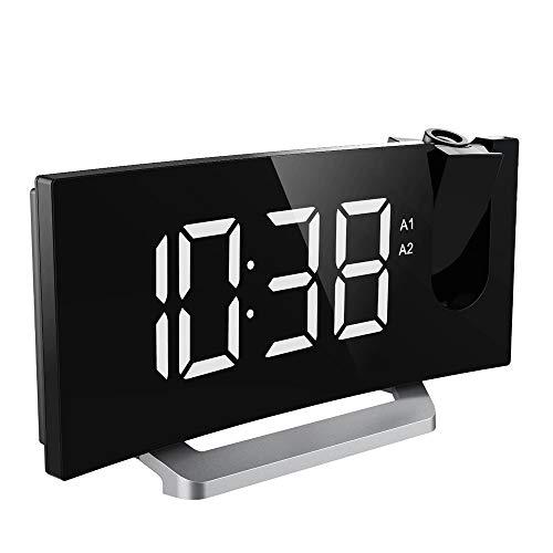KIOio Reloj Despertador de proyección Digital con Pantalla LED, Pantalla LED de 5 Pulgadas con regulador de Intensidad, Puerto de Carga USB, Reloj Despertador de Radio FM