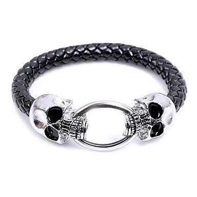 Moda Euramerican Style Uomo Skull Snake Twine Alloy Black Leather & della catena del braccialetto di collegamento (1 Pc)