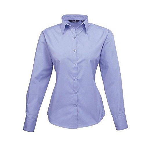 Premier Workwear Ladies Poplin Long Sleeve Blouse, Camicia Donna Mid Blue