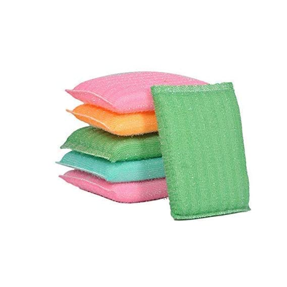 Red Crush Multi Colour Foam Pad Sponge Scrubber Kitchen Scrubber for Dish/Utensils/Tiles Cleaning Heavy Quality (Set of 6)