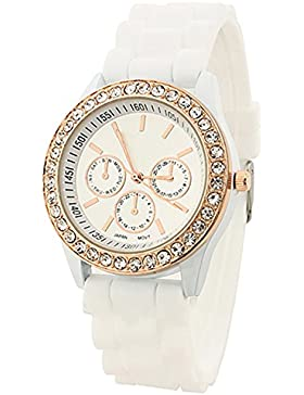 Designer Damenuhr Moderne Silikon Armband Uhr Chrono Look Strass Weiß