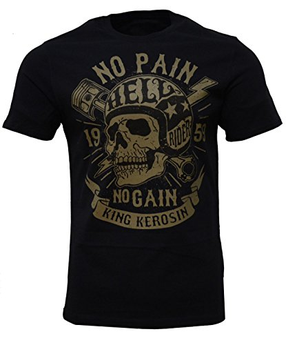 King Kerosin No Pain No Gain Regular T-Shirt Schwarz Totenkopf Skull Knochen Blitz Biker Motorrad L - Custom Fit T-shirt