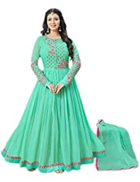 Ethnic Wings Women Georgette Anarkali Semi-Stitched Salwar Suit (EW&ER_ER10635_Light Green_Free Size)