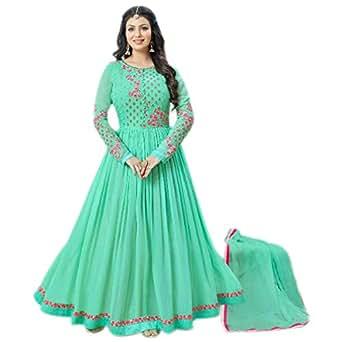 Aryan Fashion Women Georgette Anarkali Semi-Stitched Salwar Suit (DFT-10635_Light Green_Free Size)