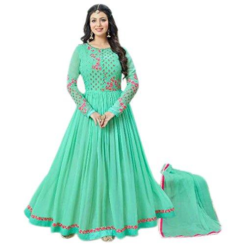 Aryan Fashion Women Georgette Anarkali Semi-Stitched Salwar Suit (AFS-AFAEV10635_Light Green_Free Size)