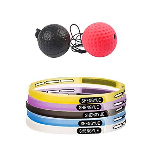 Ball Montiert (Ablerfly 2 Schwierigkeitsgrad Box-Reflexball mit Stirnband Kopf-montiert Speed Ball Reaction Ball für Koordination Fähigkeit Training Entlüftung Dekompression)