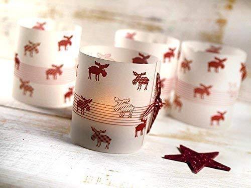 Set 6 x Lichthülle für Tischlicht Weihnachten Elch Rot Weihnachtsdeko Advent handmade