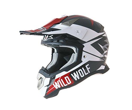 Casco Shiro mx-917carbonio Wild Wolf M bianco