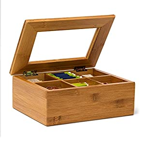 Relaxdays Bamboo Box with 6 Compartments Bag Caddy Wooden with Closable Lid + Window Chest Aroma-Proof Storage for Fresh Tea, Lacquered, Wood, Brown, 9 x 22 x 16 cm