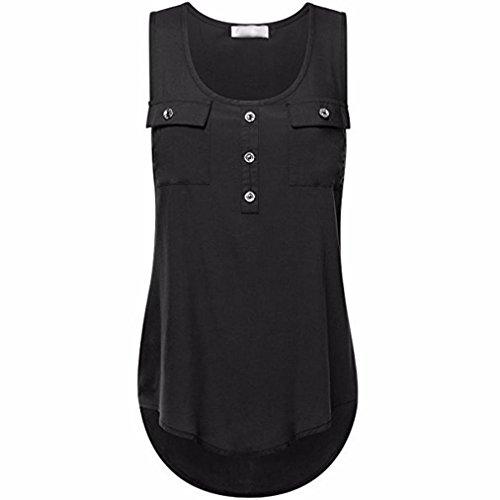Kobay Damenmode Knopf Tasche ärmelloses Shirt Damen unregelmäßiger Rand Tank Tops Übergröße Westen, S-5XL(X-Large,Schwarz) (Grau Iron Man Kostüm)