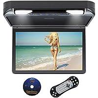Overhead Lecteur de DVD HD 1080p Flip Down Lecteur multimédia pour Voiture avec USB intégré SD HDMI Jeux Double dôme lumières LED 33,8cm Noir