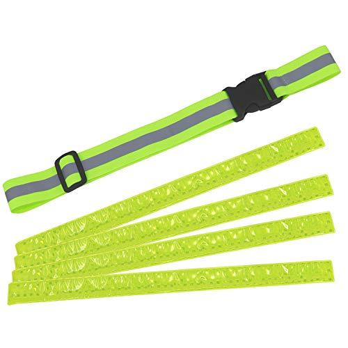com-four® 5-teiliges Reflektor Set, dehnbares Reflektorband und Schnapparmbänder für bessere Sichtbarkeit (05-teilig - Gurtband + Schnappband)