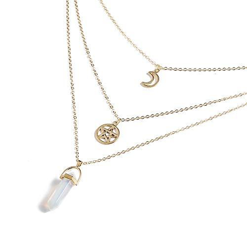 CJF123 Hexagonal Spalte Quarz Halsketten Anhänger Naturstein Kugel Rosa Kristall Anhänger Halskette Für Frauen Schmuck, Star Opal -