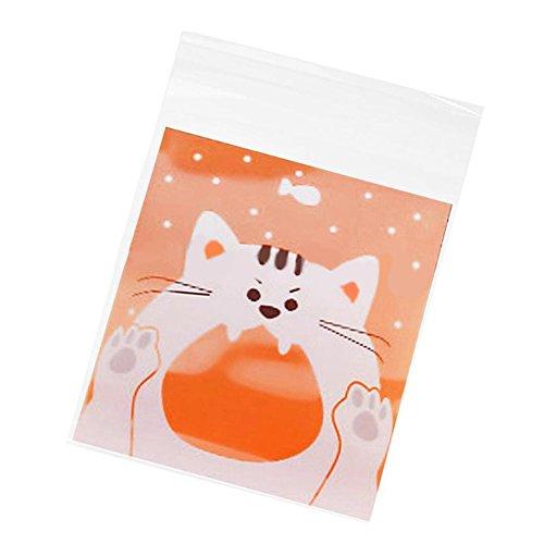 Keksbeutel, Süßigkeitenbeutel, süße Cartoon-Katze, Tiere, selbstklebend, Schokolade, Kekse, Süßigkeiten, Beutel, 100 Stück, White Cat ()