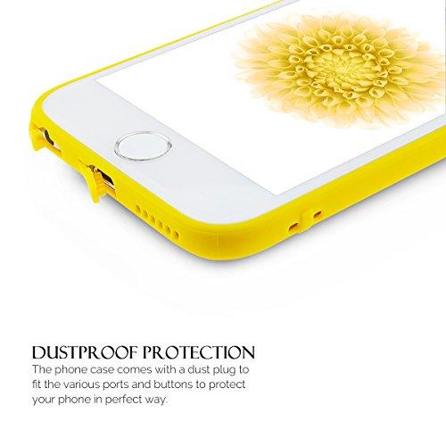 Coque iPhone 6S , Coque iPhone 6 , Anfire Etui Souple Flexible en Premium TPU Apple iPhone 6S / 6 (4.7 pouces) Ultra Mince Gel Silicone Transparent Clair Housse de Protection Soft Crystal Case Cas Cou Jaune