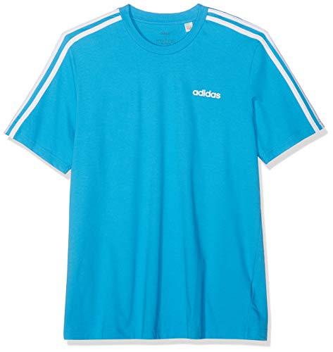 Adidas essentials 3 stripes t-shirt, maglietta uomo, shock cyan/bianco, m