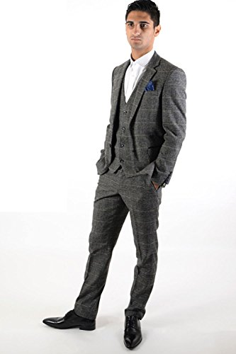 Mens-Marc-Darcy-Designer-Grey-Check-Tweed-Three-Piece-Work-Wedding-Party-Suit-Size-34-52-Available