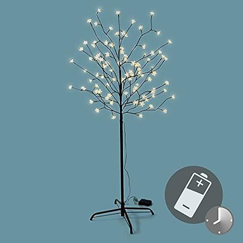96 LED Baum mit Blüten Blütenbaum Lichterbaum warm weiß 150 cm Batterie Timer Weihnachtsbeleuchtung Außenbeleuchtung IP44 Xmas Gartendeko