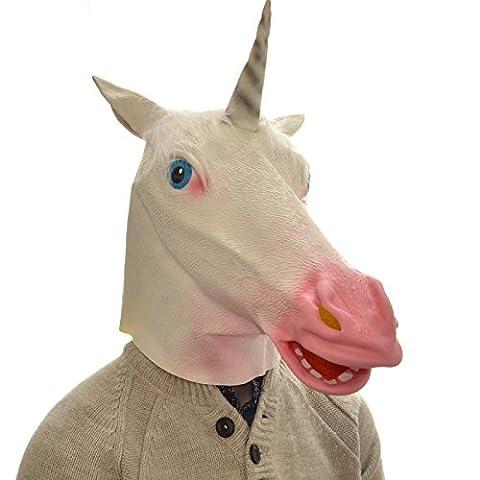 Overhead Unicorn Full Head Rubber Latex Mask Fancy Dress Halloween Party Accessory