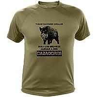 Camisetas personalizadas de caza, Todos nacemos iguales, Ideas regalos, Verraco (30142, Verde, M)
