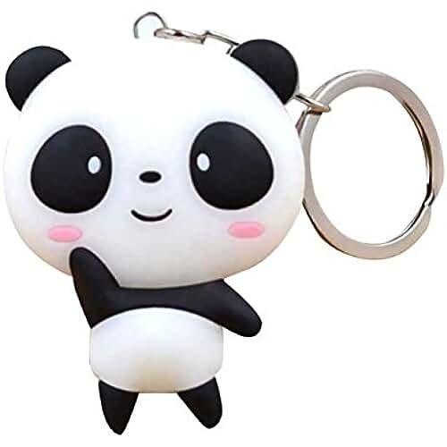 ropa kawaii para los mas guays gogoforward silicona Cute Cartoon Panda llavero llavero bolsa Kawaii colgante llavero cadena