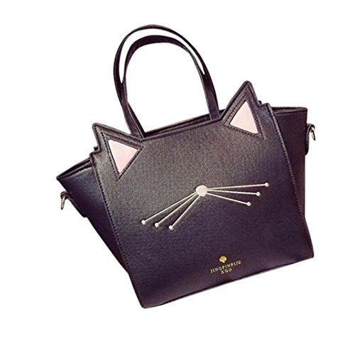 Damen Mode Schultertasche, Sunday Große Kapazität Handtasche Schöne Frauen Katze Ohr Umhängetasche Messenger Bag ((H)27cm*(L)24cm*(W)14cm, Schwarz) (Gelbe Designer-handtasche)