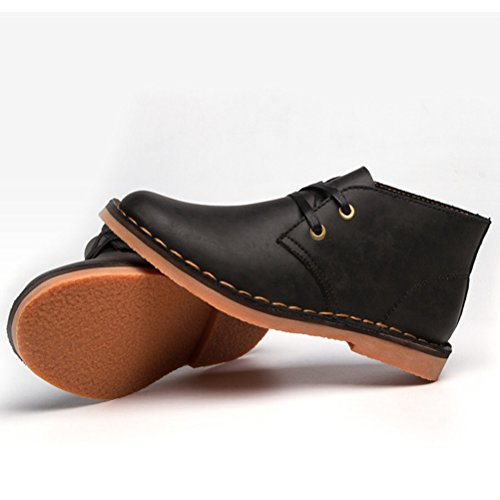 Vogstyle Homme Bottes Pure Couleur Martin en Cuir Vintage Handmake en Automne/Hiver Style-1 Noir