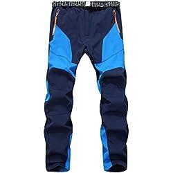 Hombres Pantalones, Manadlian Hombres Pantalones deportivos Impermeable A prueba de viento Al aire libre Calentar Pantalones gruesos de invierno (L, Azul)