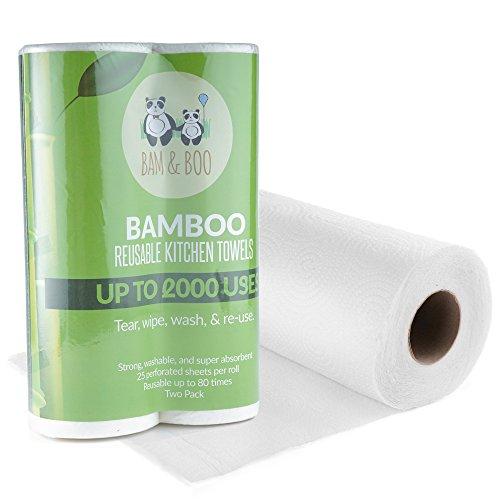 2 Paquetes de Toallas de Rollo de Cocina De Bambú Orgánicas - Toallitas de Papel Ecológicas Absorbentes Seca Manos o Limpieza de Casa - Paños, Accesorio de Cocina Reutilizable de Bamboo