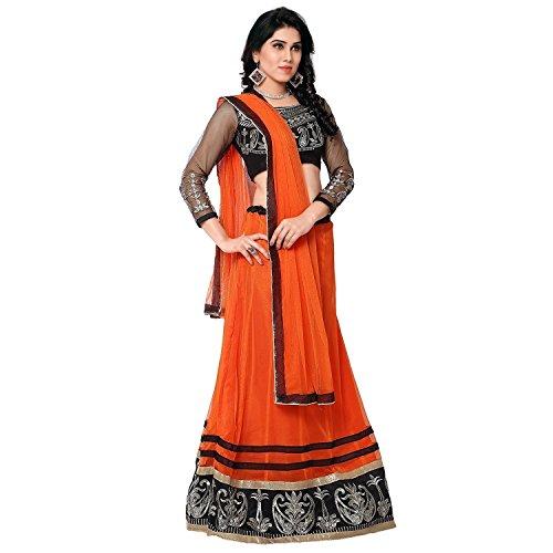 Mahavir Fashion Women\'s Orange Embroidered Net Georgette Semi-stitched Lehenga Choli (Leh_547_Freesize_Fenta)