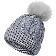 Donna Inverno Cappello Pompon Cappelli Moda Maglia Spessa Cappelli Invernali