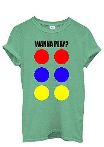 Wanna Play Game Funny Men Women Damen Herren Unisex Top T Shirt Grün