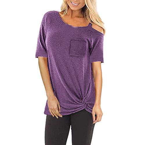 IZZB Damen Bluse Tanktops Weste Frauen Top Oberteil Sommer Hemd Mode Reine Farbe Top Mode T Shirt Bluse (Lila, L)