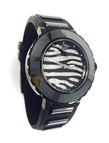 Orologio swarovski modello octea sport zebra nero 39mm con cristalli neri e trasparenti, cinturino in gomma nera e movimento al quarzo svizzero 5040563