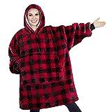 Wood.L Felpa Oversize Felpa con Cappuccio Coperta Ultra Peluche Calda Comfy Lungo Spessa Giant Hooded Robe Pullover Reversibile con Grande Tasca per Adulti Uomo Donna Come Visto in TV