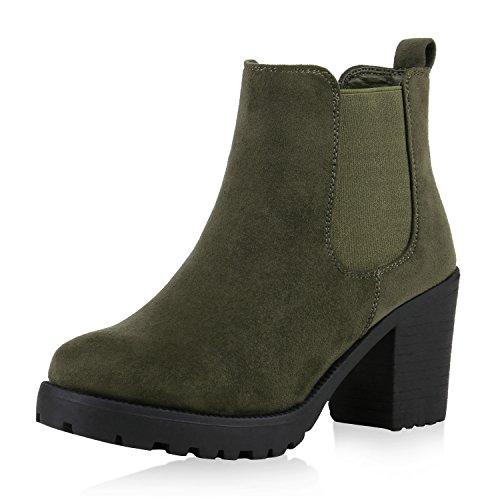 Damen Plateau Stiefelette Chelsea Boots Stiefel Trend Damen STIEFELETTEN, Dunkelgrün Nuovo, 38 EU